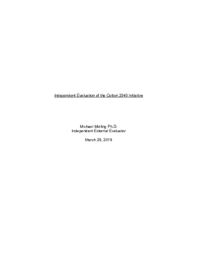 Independent Evaluation of the Cotton 2040 Initiative