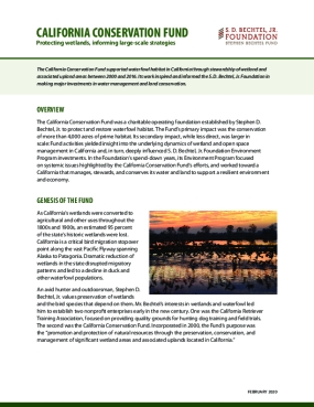 California Conservation Fund: Protecting wetlands, informing large-scale strategies